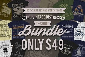 100 Retro Vintage T-Shirt Designs