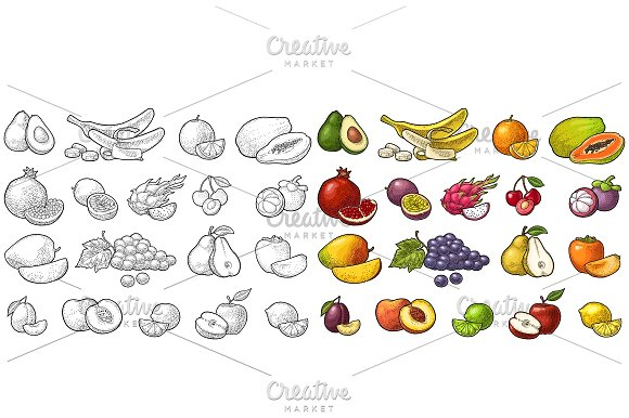 Set tropical fruits. Engraving color