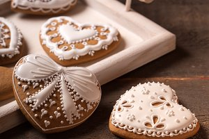 Beautiful gingerbread heart cookies