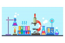 Chemical Laboratory in flat style