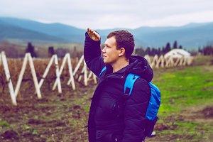 traveler. view in the Crimea. the gu