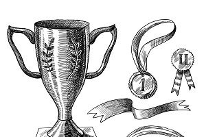 Trophy and awards icons sketch set