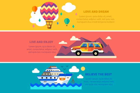 Travel by land, sea and air. Vector - Illustrations