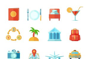 Travel and tourism icon flat set