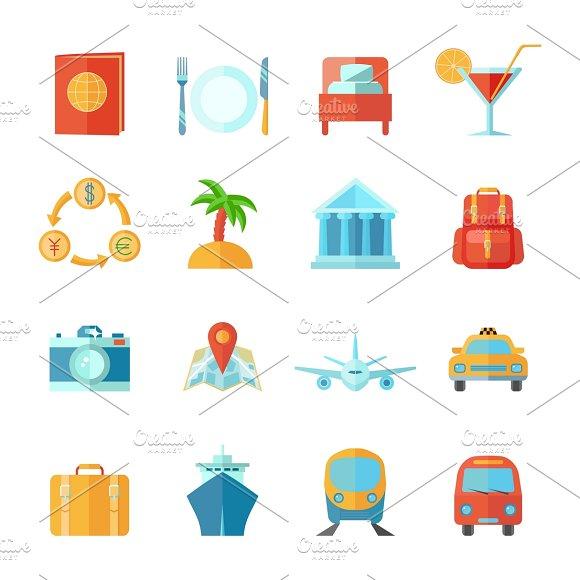 Travel And Tourism Icon Flat Set