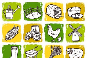 Hand drawn agriculture icon set