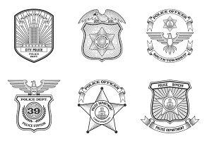 Police emblems black set