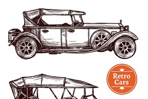 Retro cars hand drawn set