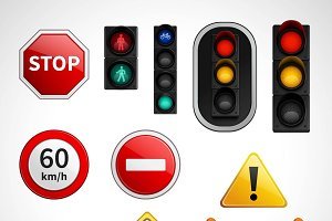 Traffic signs and lights pictograms
