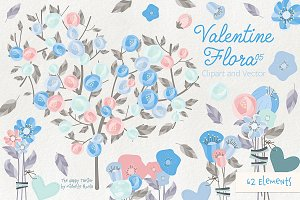 Valentine Flora 05 Clipart & Vectors