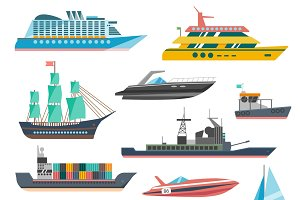 Ships yachts and boats icons set