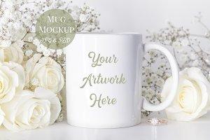 Mug Mockup- white roses