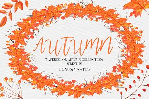 Autumn Wreaths Clipart+5 Posters