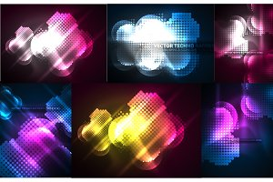 Neon light effects abstract background set