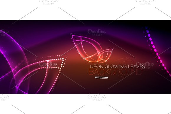 Neon Leaf Background Green Energy Concept