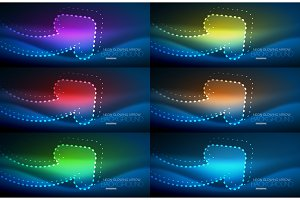 Set of neon techno arrows, digital vector abstract backgrounds