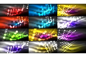 Set of digital circle neon lights abstract backgrounds