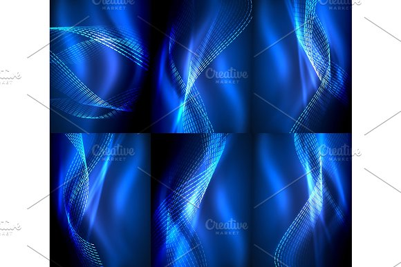 Set Of Elegant Flowing Neon Waves Digital Abstract Backgrounds