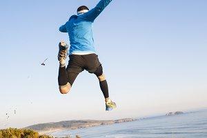 Man giving a big jump