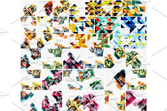 Set Of Geometric Abstract Backgrounds Squares And Triangles