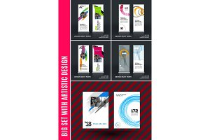 Business vector set of modern roll up banner stand design with colourful artistic stroke