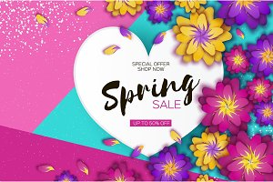 Bright Origami Spring Sale Flowers Banner. Paper cut Exotic Tropical Floral Greetings card. Spring blossom. Love Heart frame. Happy Women s Day. 8 March. Text. Seasonal holiday. Trendy decor.