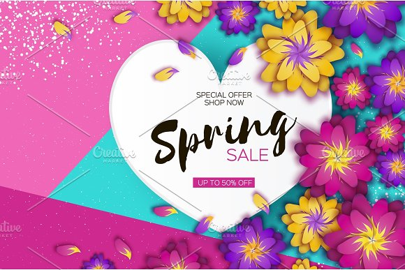 Bright Origami Spring Sale Flowers Banner Paper Cut Exotic Tropical Floral Greetings Card Spring Blossom Love Heart Frame Happy Women S Day 8 March Text Seasonal Holiday Trendy Decor