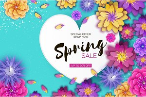 Bright Origami Spring Sale Flowers Banner. Paper cut Exotic Tropical Floral Greetings card. Spring blossom. Love Heart frame. Happy Women s Day. 8 March. Text. Seasonal holiday on blue. Trendy decor.