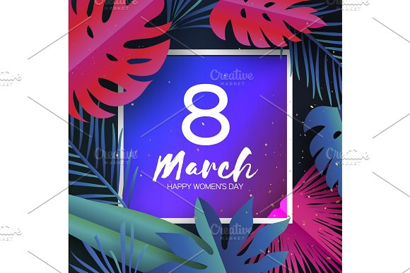 Trendy 8 March Tropical Palm Leaves Plants Paper Cut Style Exotic Hawaiian Holidays Space For Text Square Frame Happy Women S Day 8 March Mother S Day
