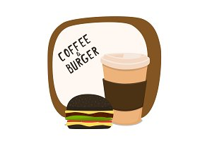Coffee and black burger. Fast food to takeaway. Vector illustration with a board and the inscription Coffee and a burger