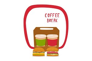 Coffee and burger. Fast food for takeaway, in a cardboard box with a handle. Vector illustration with a board and the inscription Coffey braak.