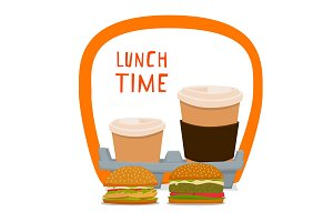 Coffee and burger. Fast food for takeaway, in a cardboard box with a handle. Vector illustration with board and inscription lunch time