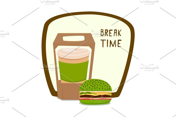 Coffee And Burger Fast Food To Takeaway Vector Illustration