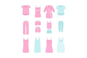 A set of women's clothes and pajamas for home, sleep and parties. Vector illustration