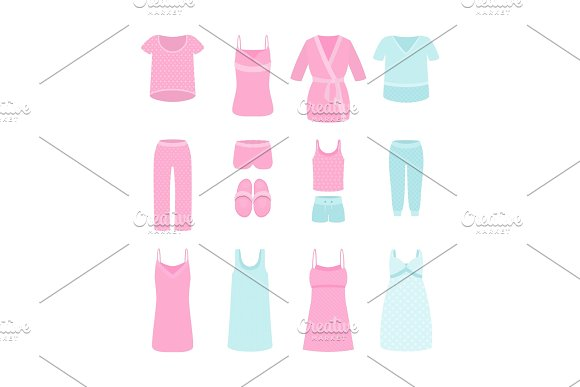 A Set Of Women's Clothes And Pajamas For Home Sleep And Parties Vector Illustration