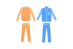 Blue and orange sleepwear. Vector cartoon illustration