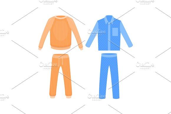 Blue And Orange Sleepwear Vector Cartoon Illustration