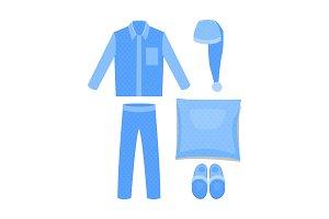 Set for sleeping: pajamas, pillow, cap, slippers. Vector cartoon illustration