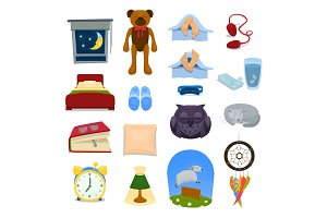 A set of objects and symbols of sleep. Vector cartoon illustration.