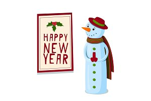 A cute snowman looks at the New Year's poster. Vector illustration