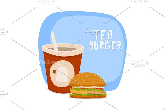 Tea And Burger Fast Food To Takeaway Vector Illustration