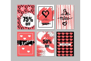 Valentine's day cards with hearts.