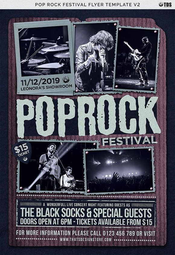 Pop Rock Festival Flyer Template V2 Flyer Templates Creative Market