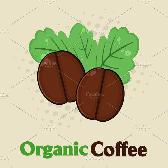Organic Roasted Coffee Beans Cartoon