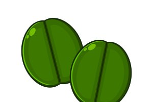 Two Green Coffee Beans Cartoon