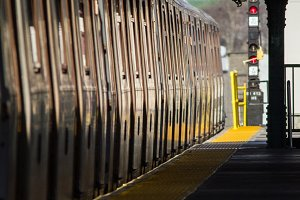 Subway train standing on overground station