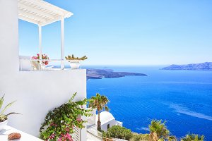 Perfect view with Traditional Greek house,sea side