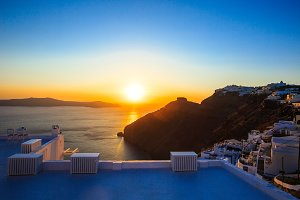Perfect sunset view on the sea side in Thira