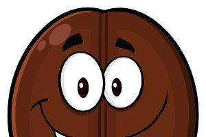 Happy Coffee Bean Cartoon Character