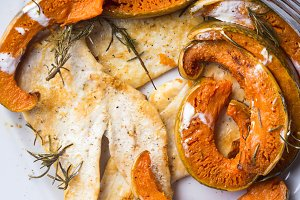 Grilled chicken breast with pumpkin